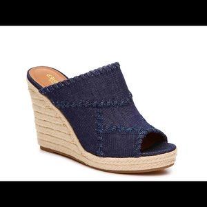 Crown Vintage Mariana Denim Wedge Espadrille Mules